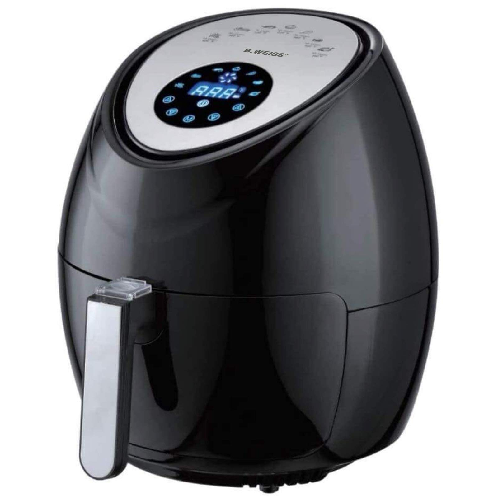 Air Fryer XL 8-in-1 By B.WEISS, (5.5 QT) Family Size Huge capacity,1800W power,With Airfryer accessories; PIZZA Pan, (50 Recipes Cook Book),Toaster rack, Cooking Divider.
