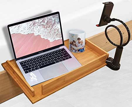 Bedside Laptop Stand Nightstand Shelf Tray for Bed Bamboo Wood Caddy Sturdy Durable Wide Compatibility 12 x19 Ideal for College Students, Kids, Organizer Phone Tablet Holder Included