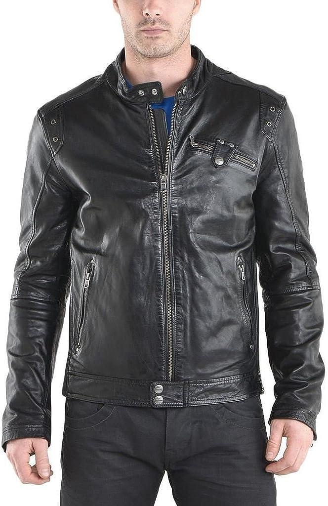 New Mens Leather Jacket Black Slim Fit Biker Motorcycle Genuine Leather Coat LTC788