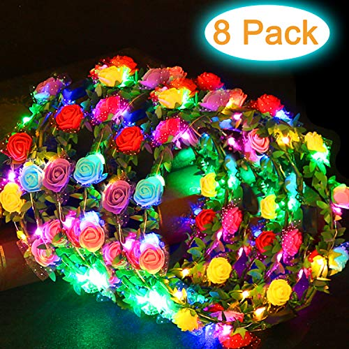 AMENON 8 Pack LED Flower Crowns, LED Flower Wreath Headband with 80 LED Glow in The Dark Party Supplies for Womens Girls, Light Up Headband Flower Headdress Wedding Holiday Photography Party Decors