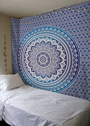 Madhu International Hippie Mandala Blue Tapestry Multi Purpose Cotton Decorative Wall Hanging