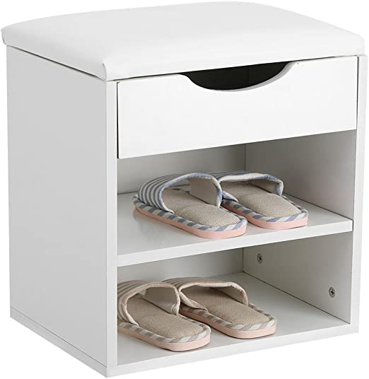 Wood Concealed Shoe Storage Bench Seat Cabinet Closet Shelf Organizer Entryway