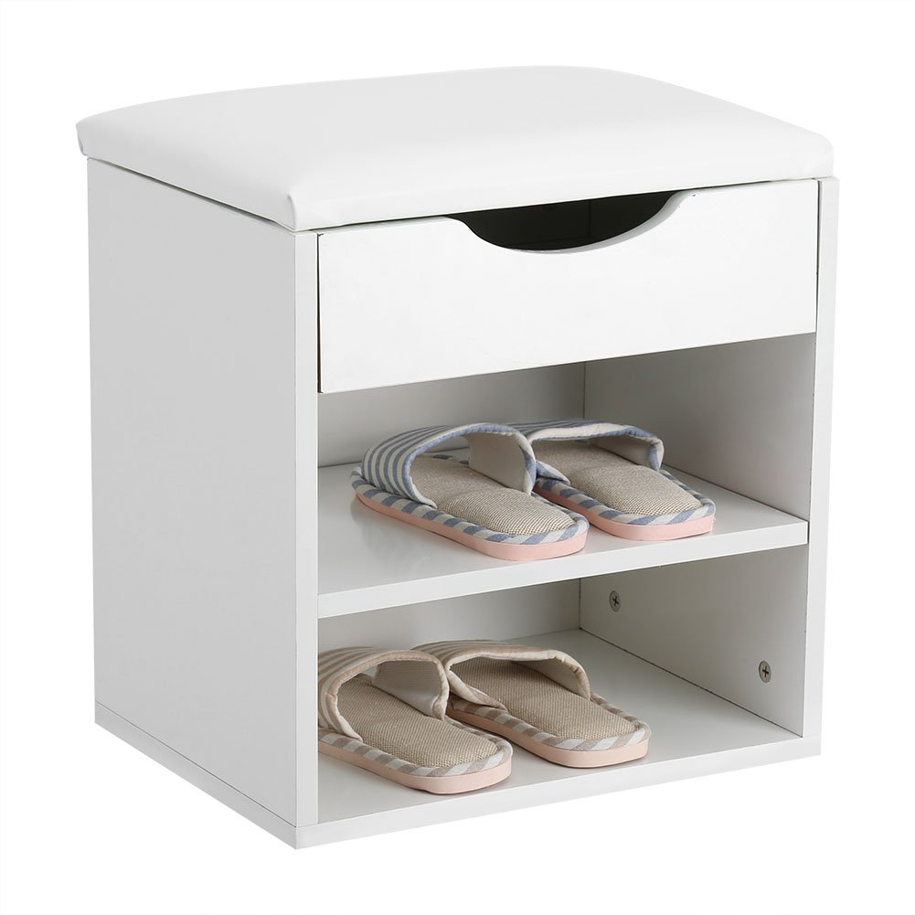 Shoe Storage Bench,Home Entryway Storage Hall Bench Wooden Shoes Storage Organizer Cabinet with Shelves and Padded Seat for Entryway or Closet