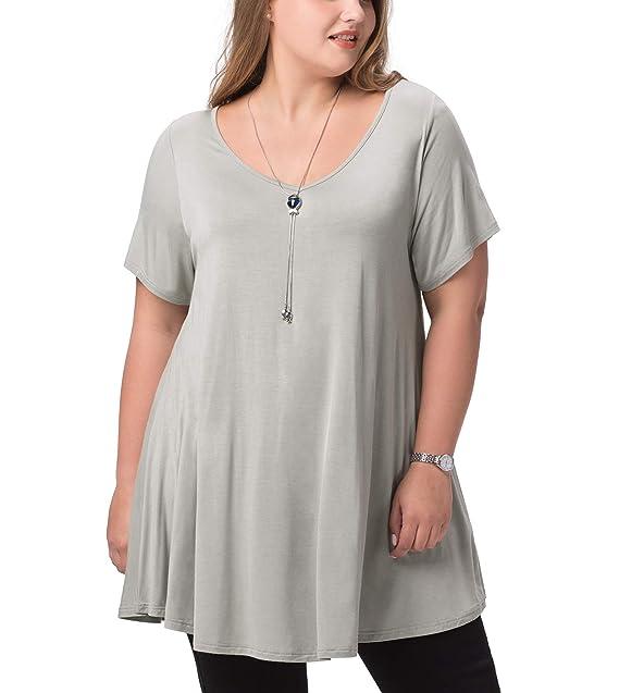 6d4dbda42067 LAPASA Donna Blusa con Collo Svasato Maniche Corte Camicia Super Soft da  Donna L20  Amazon.it  Abbigliamento