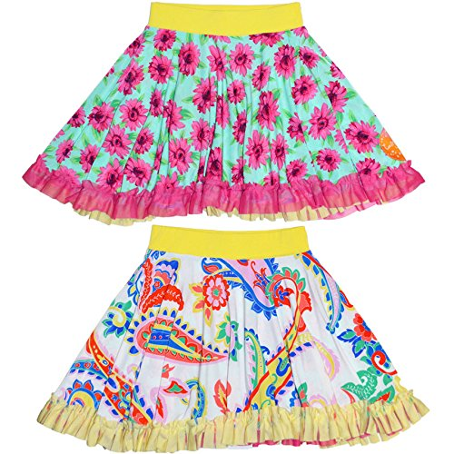 Twirly Girl Girls Designer Skirts Cute Reversible with Ruffles Pink Teal Flowers