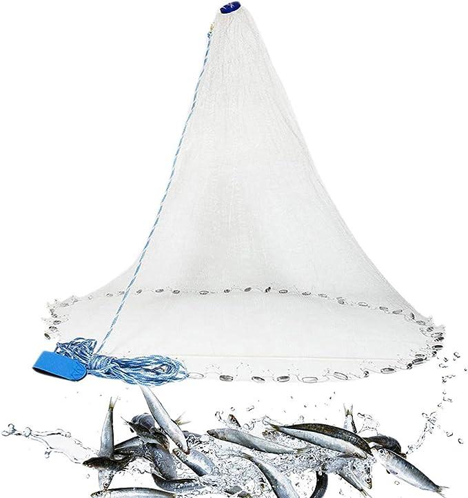 Cast Netze f/ür Fischerei Nyloneinzelheizfaden Angeln Cast Netz Fischernetz-Trap-Au/ßen Hand Werfen Fischen Retro Bait-Trap Thrownetz Wei/ß 240cm