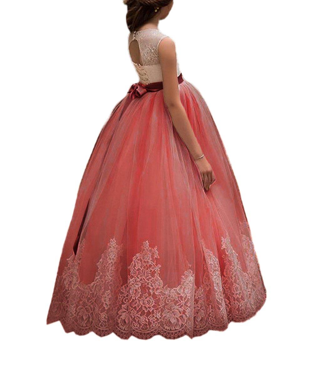 Vestido encaje eventos de niña 19960 de flores para boda niños ...