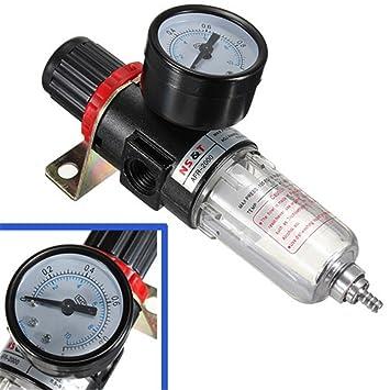 KaTur filtro para tratamiento de aire en fuente neumática, regulador con manómetro, compresores AFR-2000: Amazon.es: Coche y moto