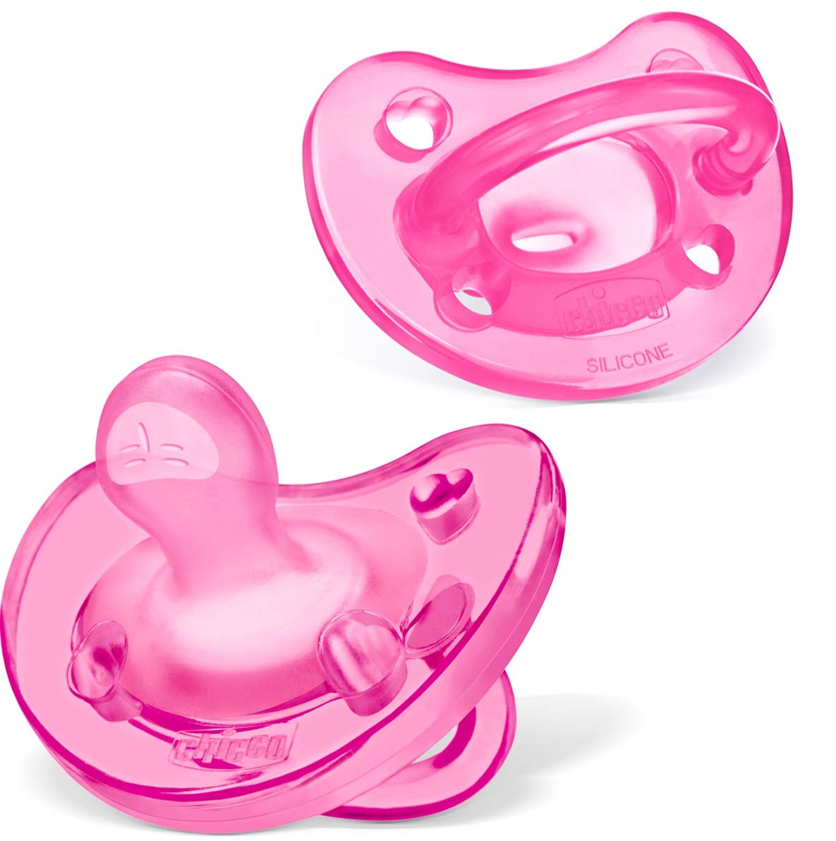 Chicco PhysioForma 100% Soft Silicone One Piece Pacifier for Babies 0-6 Months, Pink, Orthodontic Nipple, BPA-Free, 2-count in Sterilizing Case