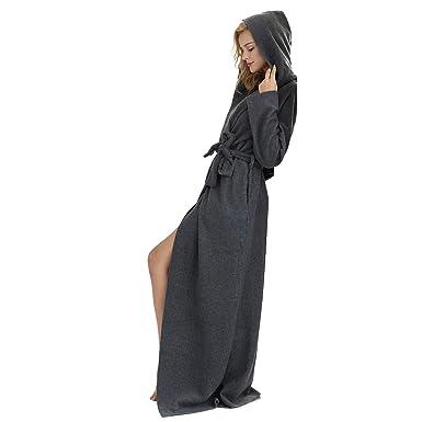 7 VEILS Women and Men Microfleece Ultra Long Floor-Length Hooded Bathrobes- Dark Gray f4959ccd9
