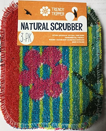 TRENDY TRIPPER 3-Pack Natural Pot Scrubbers: Made of Cotton + Tree Resin