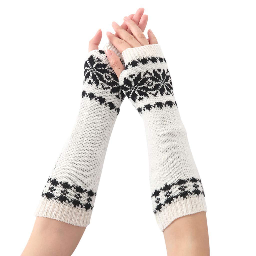 Tuu 1Pair Women Winter Warm Long Fingerless Gloves Snowflake Knitted Wrist Wrist Warmers (White)