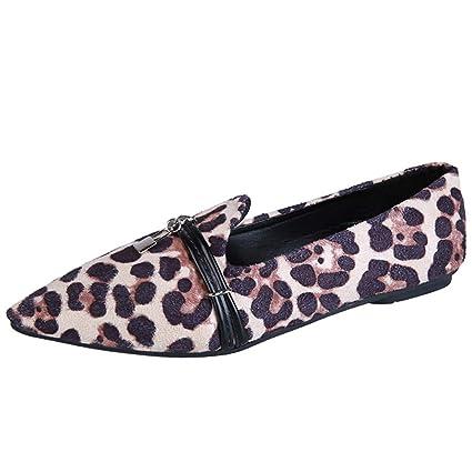 8b74681757f51 Women Ladies Point Toe Peep Shoes Leopard Print Flat Heel Casual Loafers  Doug Single Shoes