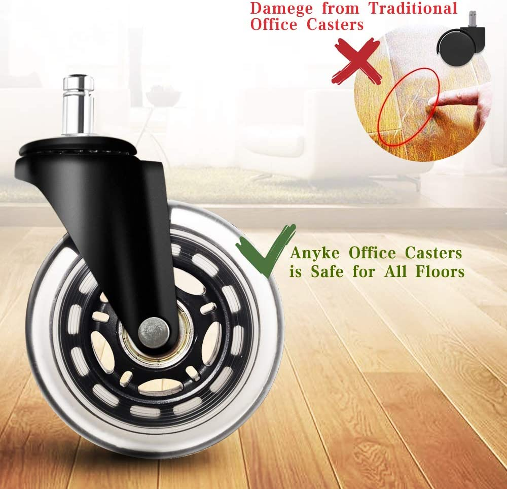 Caster Wheels Replacement for Office Chair Hardwood Floor Protect No Chair Mat Carpet Needed Rollerblade Style Rubber Desk Chair Wheels Universal Fit Set of 5