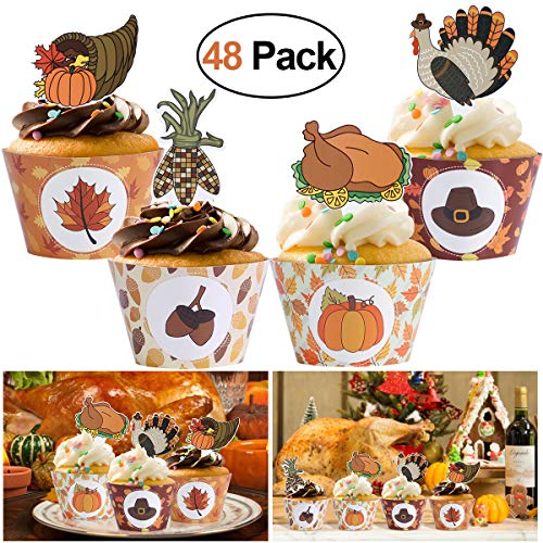 Amosfun 48 Pcs Thanksgiving Cupcake Toppers and Wrappers Decoration Set Food Fruit Picks for Party Decoration