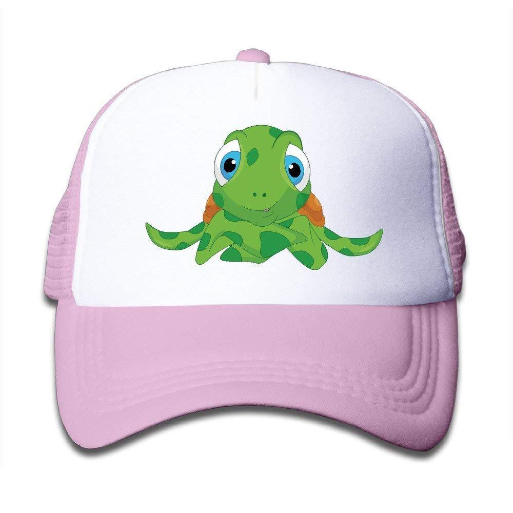 FEAIYEA Cute Sea Turtle Cartoon Boy Girl Hats Snapback Mesh Cap Adjustable Baseball Caps Kids Trucker Hat Pink