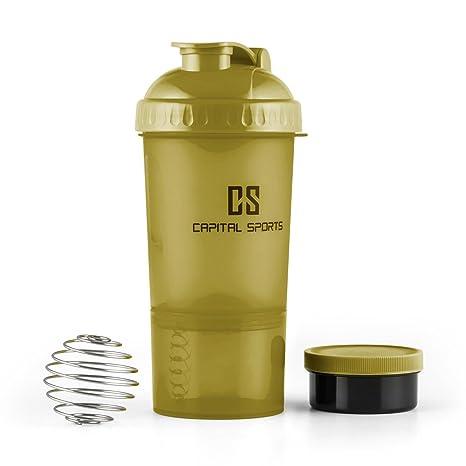 Capital Sports Shakster Batidora de bebidas proteínicas (600ml capacidad, bola mezcladora acero inoxidable,