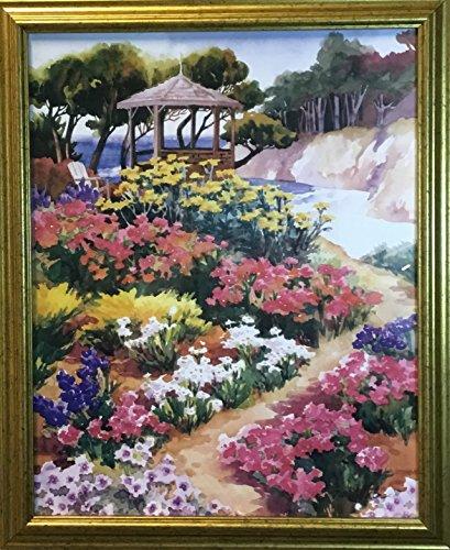 Art Print Outlet Garden Gazebo- Erin Dertner (16x20) in Gold Frame ()