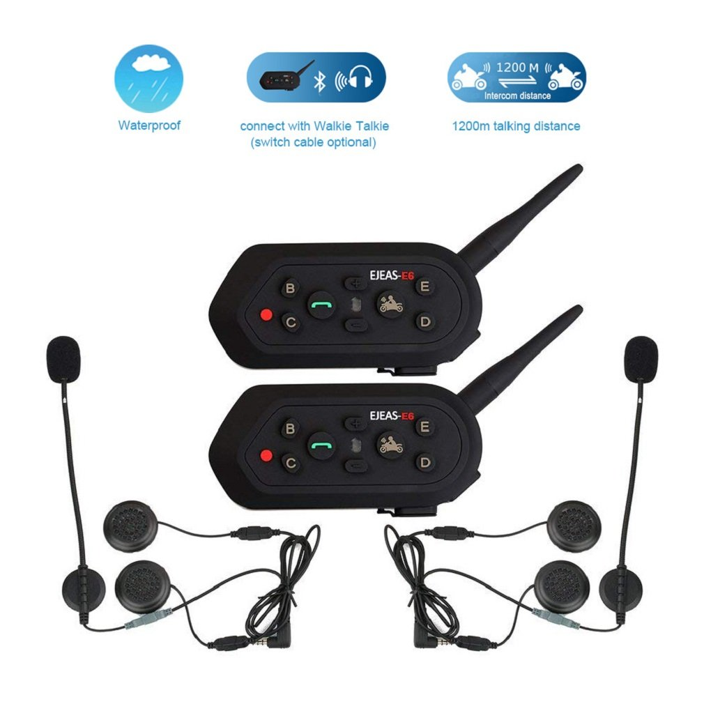 2 Pack EJEAS-E6 BT Bluetooth Intercom 1300m 6 Riders Full Duplex Talk Waterproof Wireless Motorcycle Helmet Interphone Headset with Walkie-Talkie Sports Skiing Climbing by ESoku (Image #1)