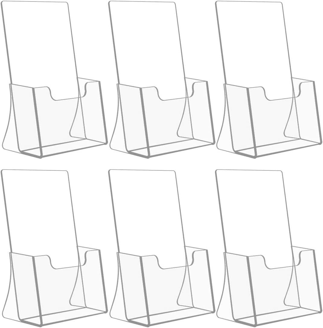 NIUBEE 6 Pack 8.5'' x 5.5'' Acrylic Bi-fold Brochure Holder,Clear Plastic Counter top Organizer
