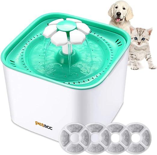 Petacc Fuente para Gatos Perro con 4 Filtros Bebedero Gatos Automático Silencia,2L (Fuente): Amazon.es: Hogar