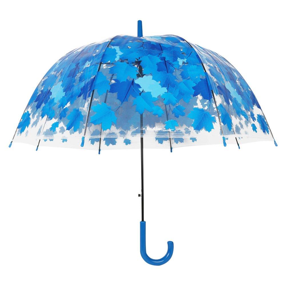 Paraguas transparente automático abierto, Claro flor de cerezo y la hoja de burbuja cúpula forma de viaje lluvia paraguas para señora mujeres: Amazon.es: ...