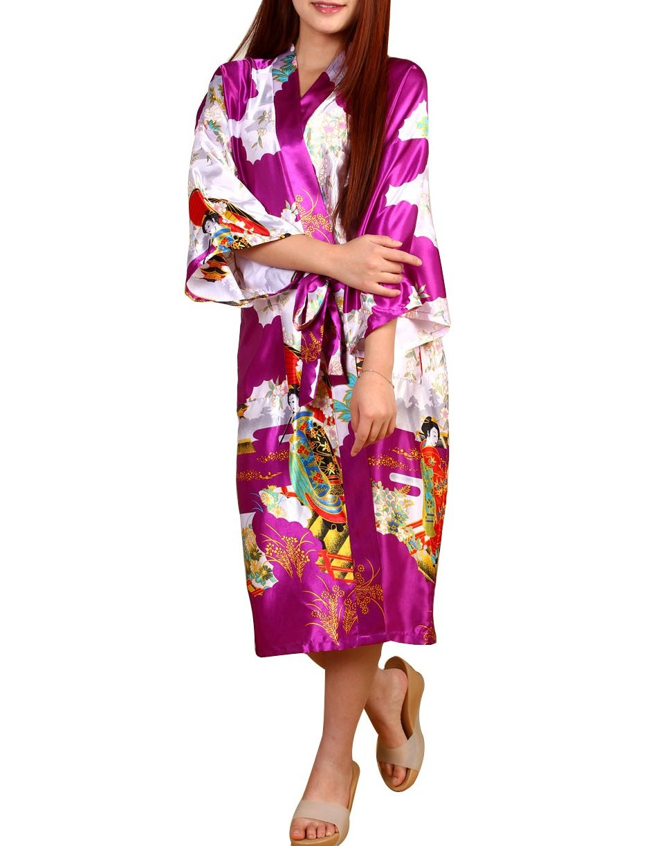 SexyTown Women's Satin Long Kimono Robe Japanese Traditional Costume Night Gown