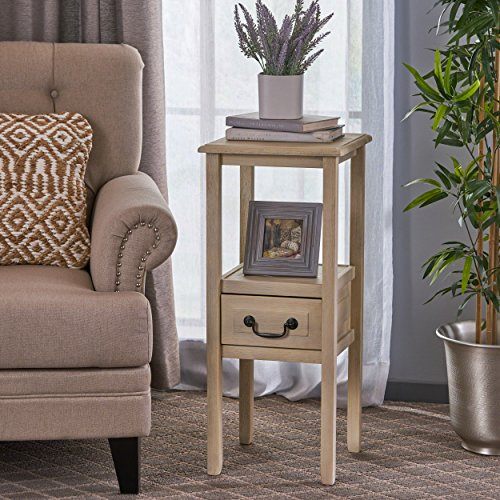 Christopher Knight Home 295249 Noah Reclaimed Wood Accent Table w/Bottom Drawer, Brushed Morning Mist