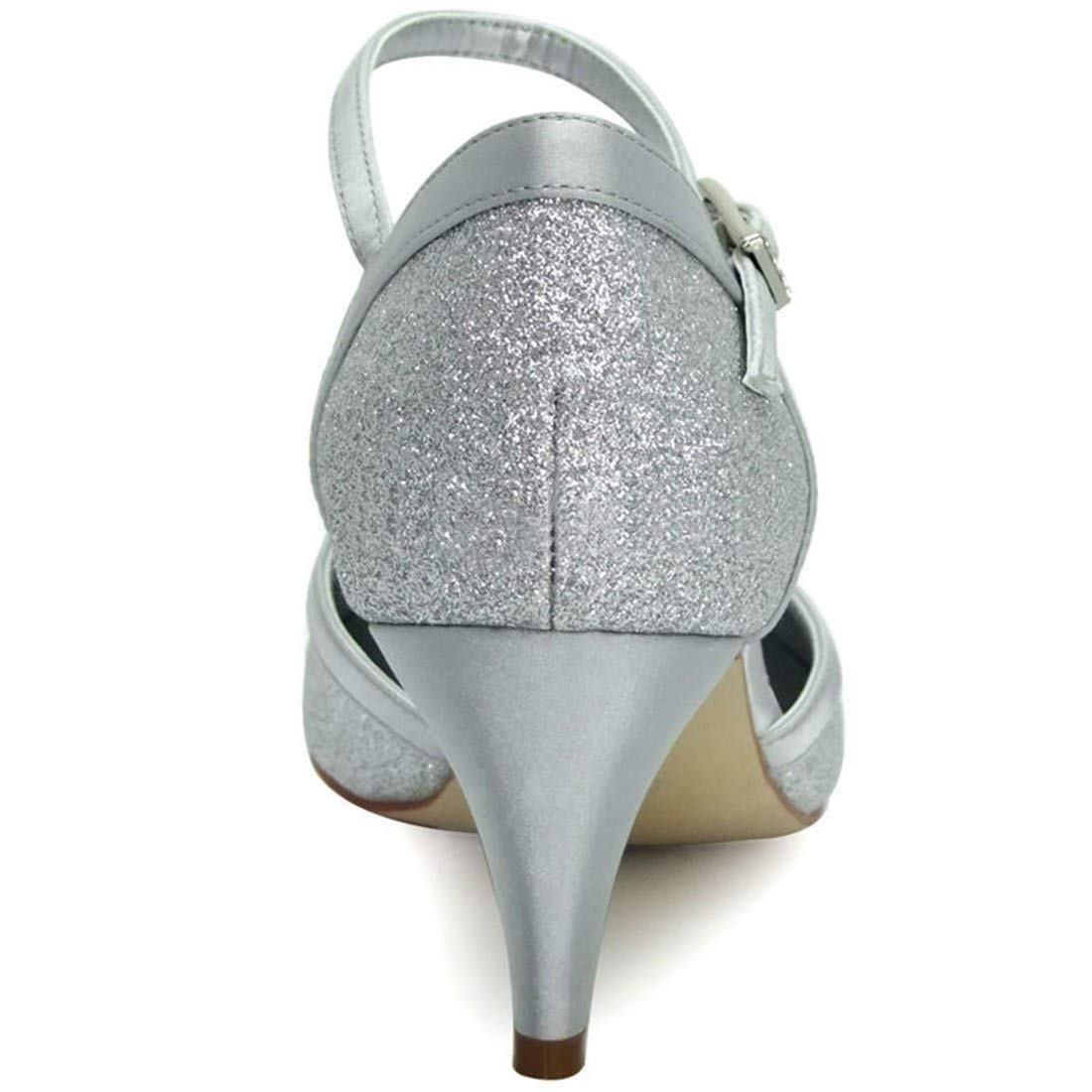 Qiusa Damen Einfache Einfache Einfache Amond Toe Med Ferse Glitter Outdoor Hochzeit Schuhe (Farbe   Silber-5cm Heel Größe   4 UK) 9487df