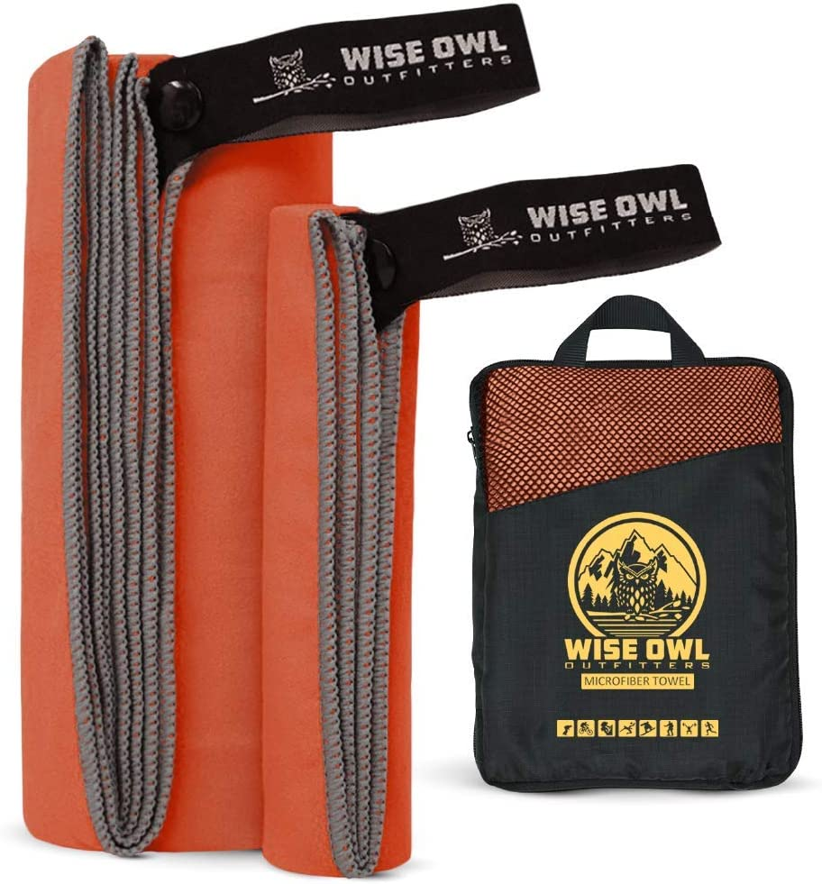Wise Owl Outfitters Camping Towel & Gym Towel - Ultra Soft Compact Quick Dry Microfiber Best Fast Drying Fitness Beach Hiking Yoga Travel Sports Backpacking