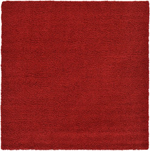 Square Red Shag Rug - Unique Loom Solo Solid Shag Collection Modern Plush Cherry Red Square Rug (8' 2 x 8' 2)