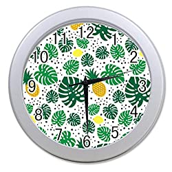 Dong Cun Bai Hawaiian Pineapple Pattern Tropical Personalized custom alarm clock for children bedroom Custom Wall Clock black Unique Custom Wall Clock