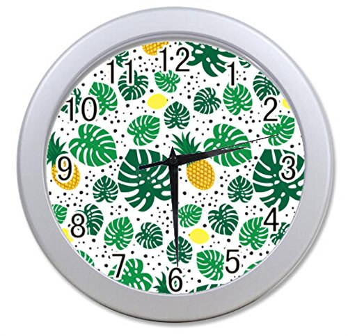 Dong Cun Bai Hawaiian Pineapple Pattern Tropical Personalized Custom Alarm Clock Children Bedroom Custom Wall Clock Black Unique Custom Wall Clock