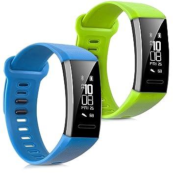 kwmobile 2X Pulsera para Huawei Band 2 / Band 2 Pro - Brazalete de Silicona Azul Claro/Verde Claro sin Fitness Tracker