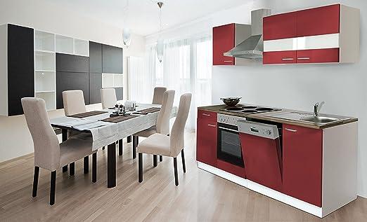 respekta Cocina 220 cm Blanco Front Rojo Horno kb220wr ...