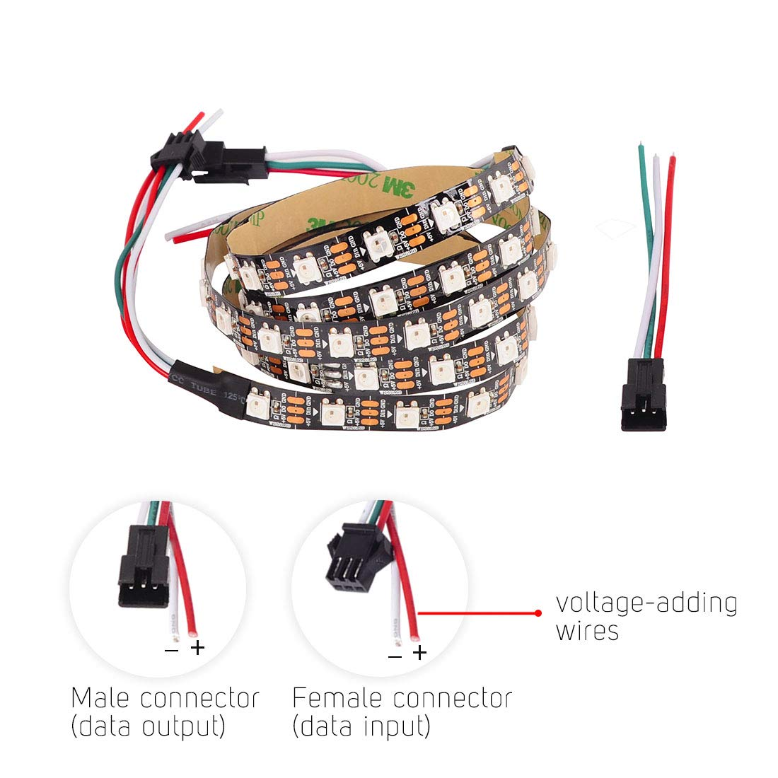 BTF-LIGHTING WS2812B 5m 60leds//pixels//m Flexible Black PCB ...