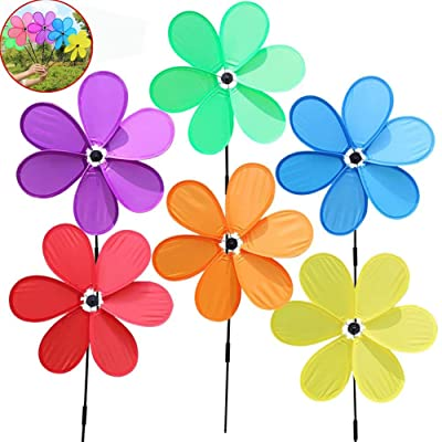 BELUPAID 6pcs Windmill Children Toys Six Leaf Festival Outdoor Lawn Decoration Single-Layer Pinwheels Spinners for Patio Lawn and Garden : Garden & Outdoor