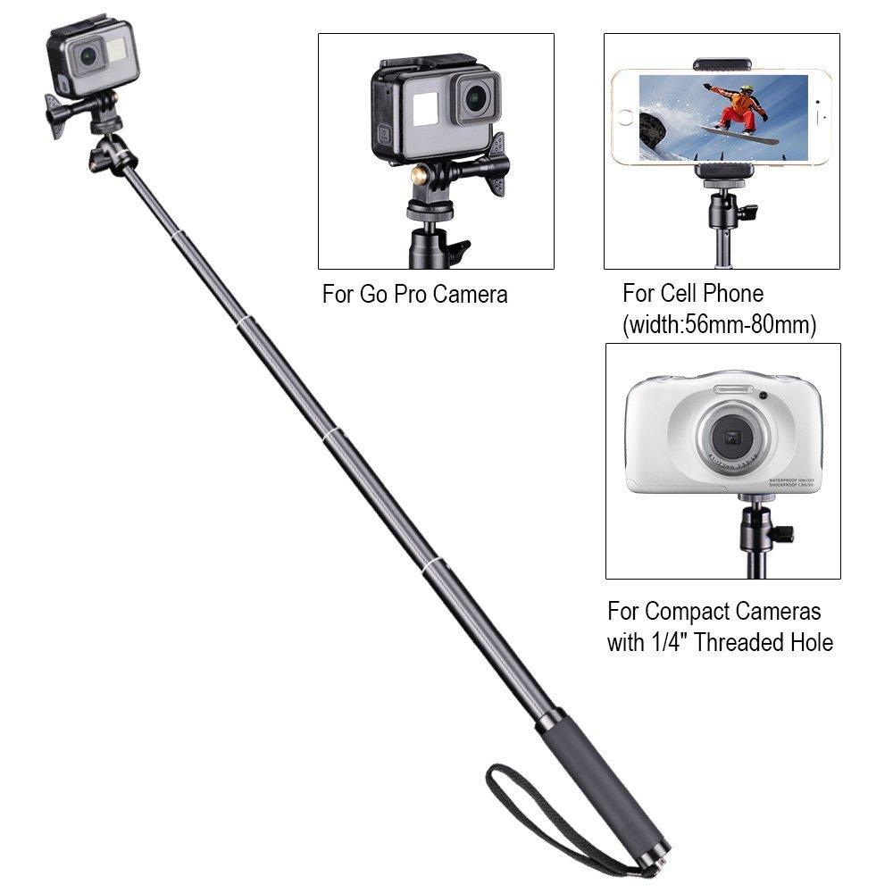 M15 C/ámaras C/ámaras Compactas y Tel/éfonos Celulares Smatree SQ2 Palo Selfie Extendable Stick // Monopod con Tr/ípode para GoPro Hero 2018 Hero 6//5//4//3+//3//2//1//Fusion//Session// Ricoh Theta S//V