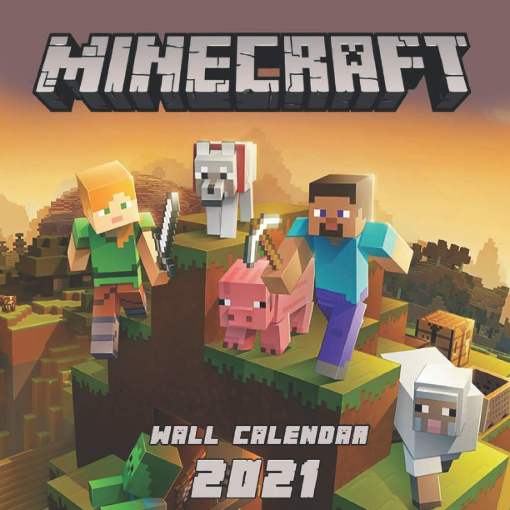 """Image for 2021 Wall Calendar Minecraft: Monthly Colorful Minecraft Wall Calendar 2021 8,5"""" x 8,5"""" , Gift For Minecraft Gamers Lovers!"""