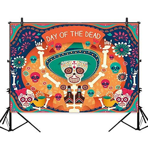 Allenjoy 7x5ft Day of The Dead Themed Halloween Backdrop Colorful Skeleton Skulls Dancing Happily in Orange and Turquoise Background Spanish Holiday Decorations Photo Studio Booth Photography Props for $<!--$19.99-->