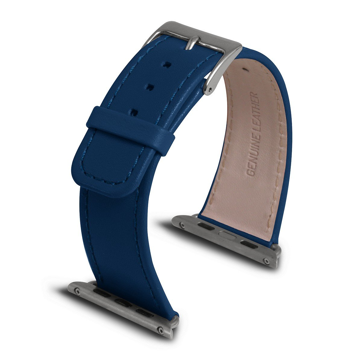Lucrin - Apple Watch Band 42 mm - Royal Blue - Smooth Leather
