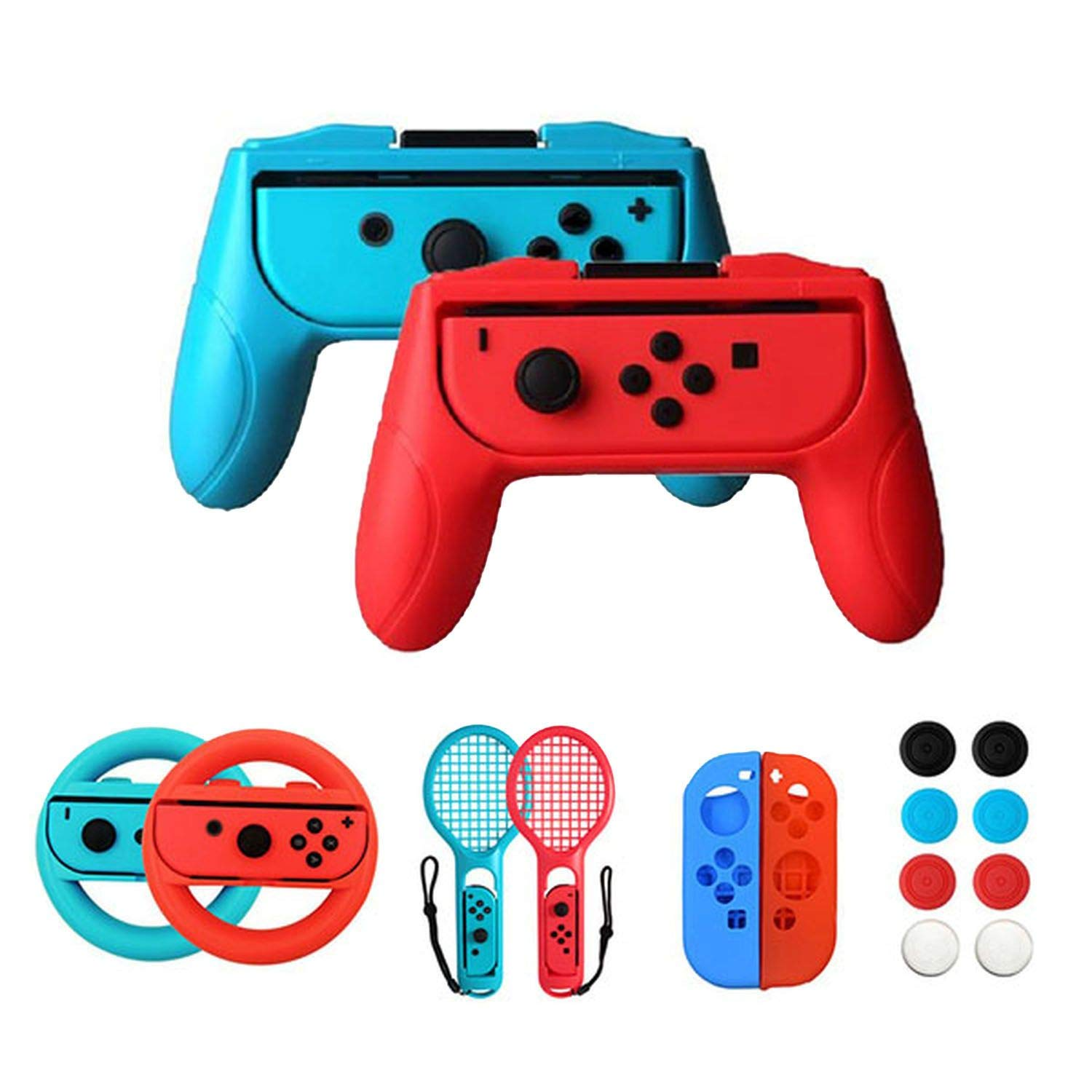 2 Pieces/set Controller Grips Case for Nintendo Switch Handle NS Nintendo Switch Game Console Accessories,16 in 1