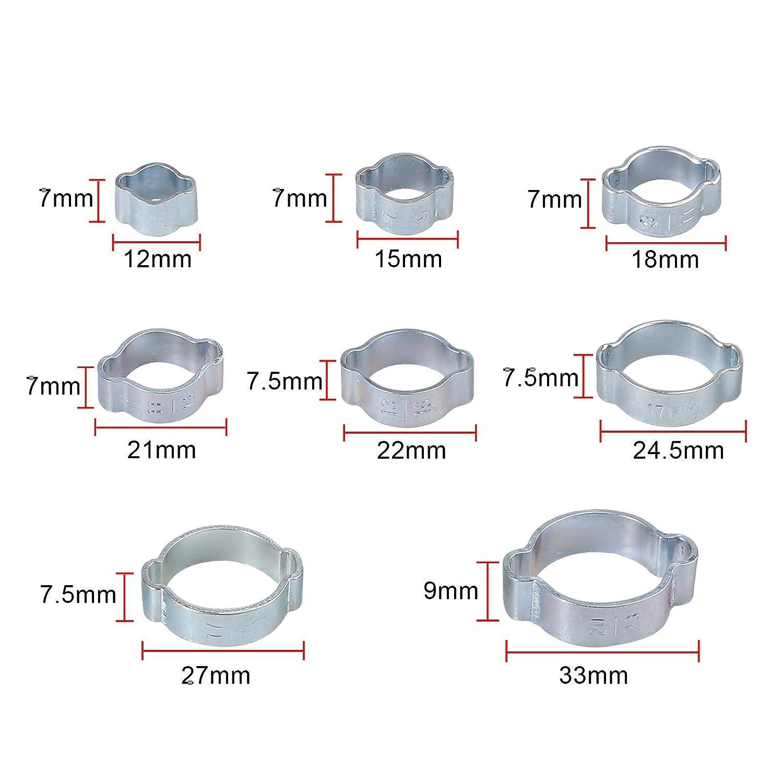 Proster 130pcs Single Ear Hose Clamps 7-21mm Proster 140pcs Double Ear Hose Clamp 5-23mm