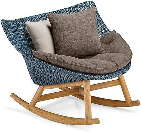 Chair-Camel Mecedora Silla de Mimbre balcón Ocio pequeño sofá sofá Perezoso jardín terraza jardín Muebles de Exterior Madera Maciza: Amazon.es: Hogar