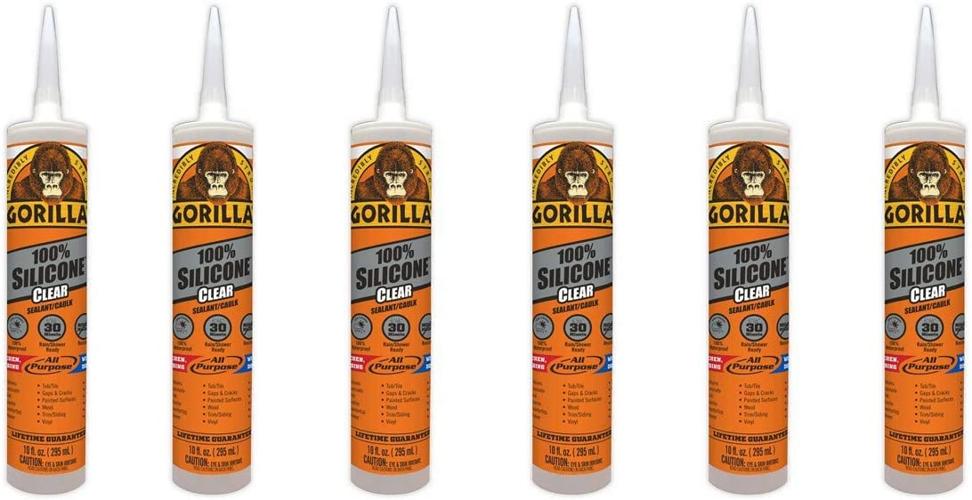 Gorilla Clear 100 Percent Silicone Sealant Caulk, Waterproof and Mold & Mildew Resistant, 10 ounce Cartridge, Clear, (Pack of 6)