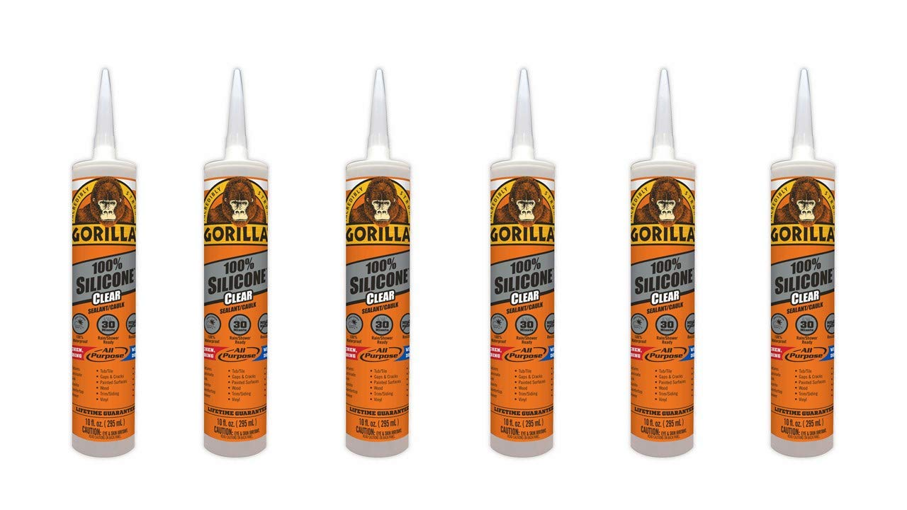 Gorilla Clear 100 Percent Silicone Sealant Caulk, Waterproof and Mold & Mildew Resistant, 10 ounce Cartridge, Clear, (Pack of 6) by Gorilla