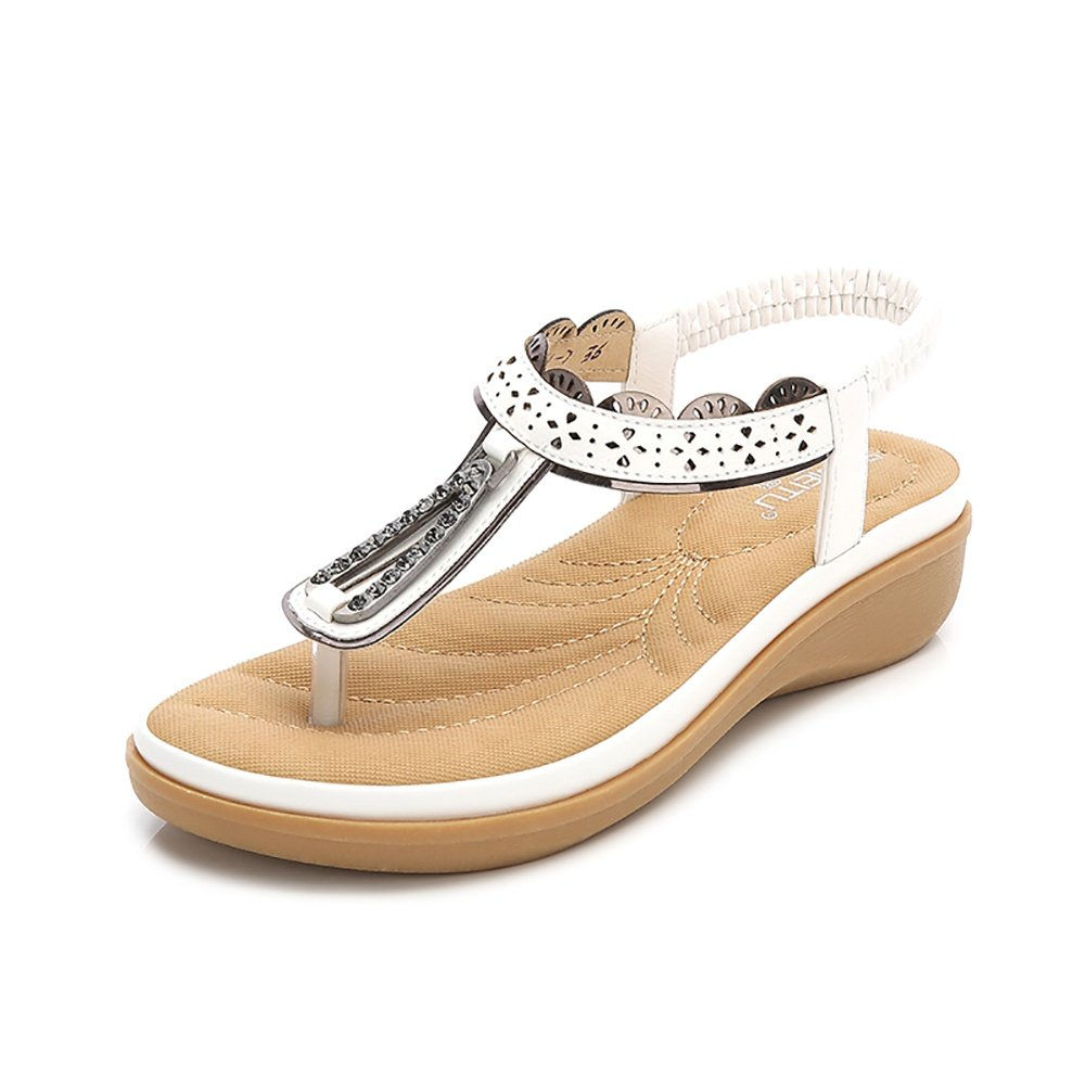 Wollanlily Women Summer Beach Flat Sandals Bohemia Flip-Flop Ankle Strap Thong Shoes White-02 US 6