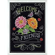 Design Works Crafts Welcome Friends Chalkboard Counted Cross Stitch Kit, 10 by 14""