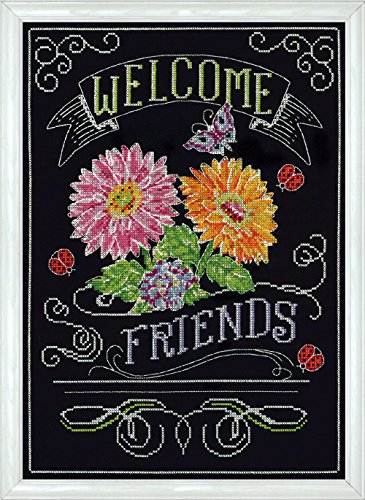 Design Works Crafts 2867 Welcome Friends Chalkboard Counted Cross Stitch Kit, 10 by 14