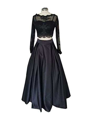 Long Sleeves Two Piece Black Prom Dresses